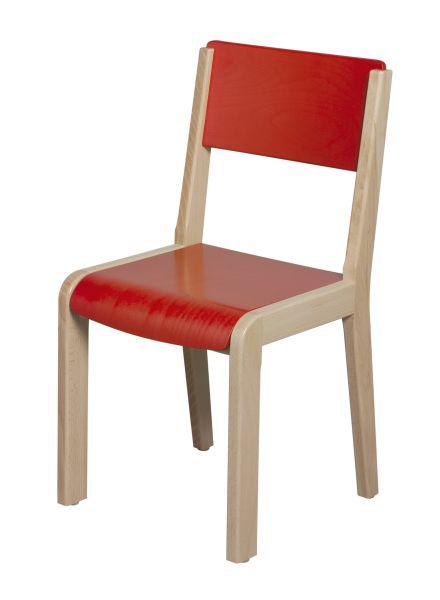 Chaise bois 4 pieds - assise et dossier teintés