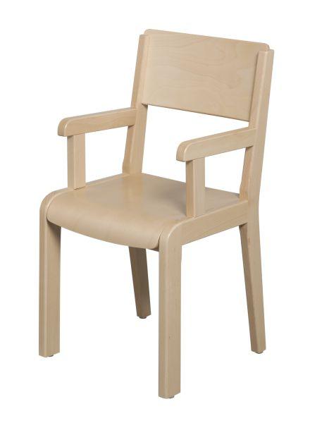 Chaise bois 4 pieds avec accoudoirs - assise et dossier teintés