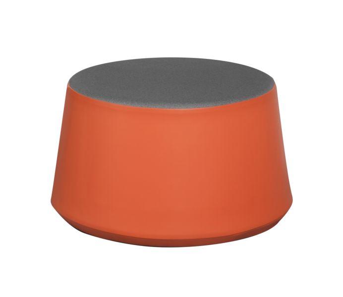 Pouf rond KONE, hauteur d'assise 30cm. Assise couleur grise.