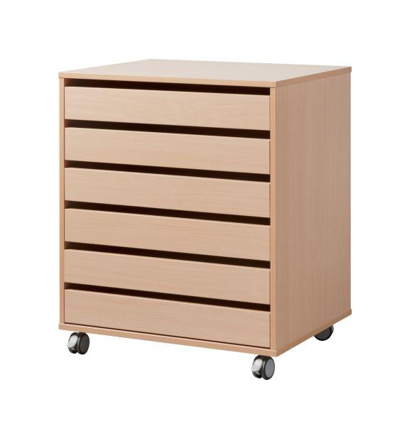 dpc maternelle meuble dessin 6 tiroirs format raisin sur roulettes. Black Bedroom Furniture Sets. Home Design Ideas