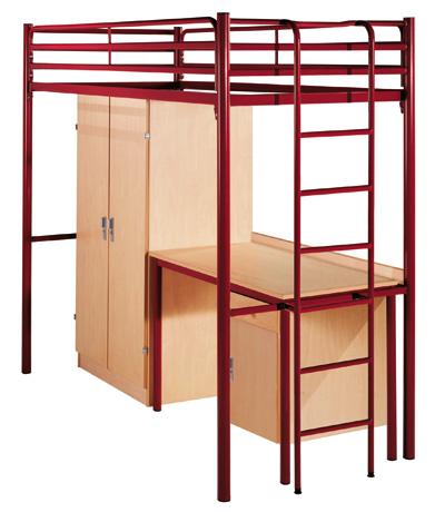 Lit surélevé PYLOS équipé d'une armoire et d'un bureau avec porte