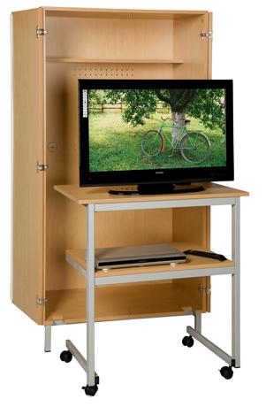 Meuble audiovisuel avec table roulante